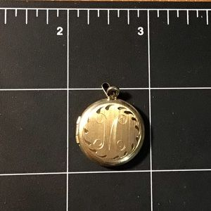 14 karat gold plated monogram locket